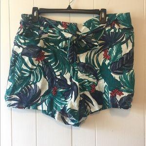Loft Belted Linen Tropical Patter Shorts Size 14
